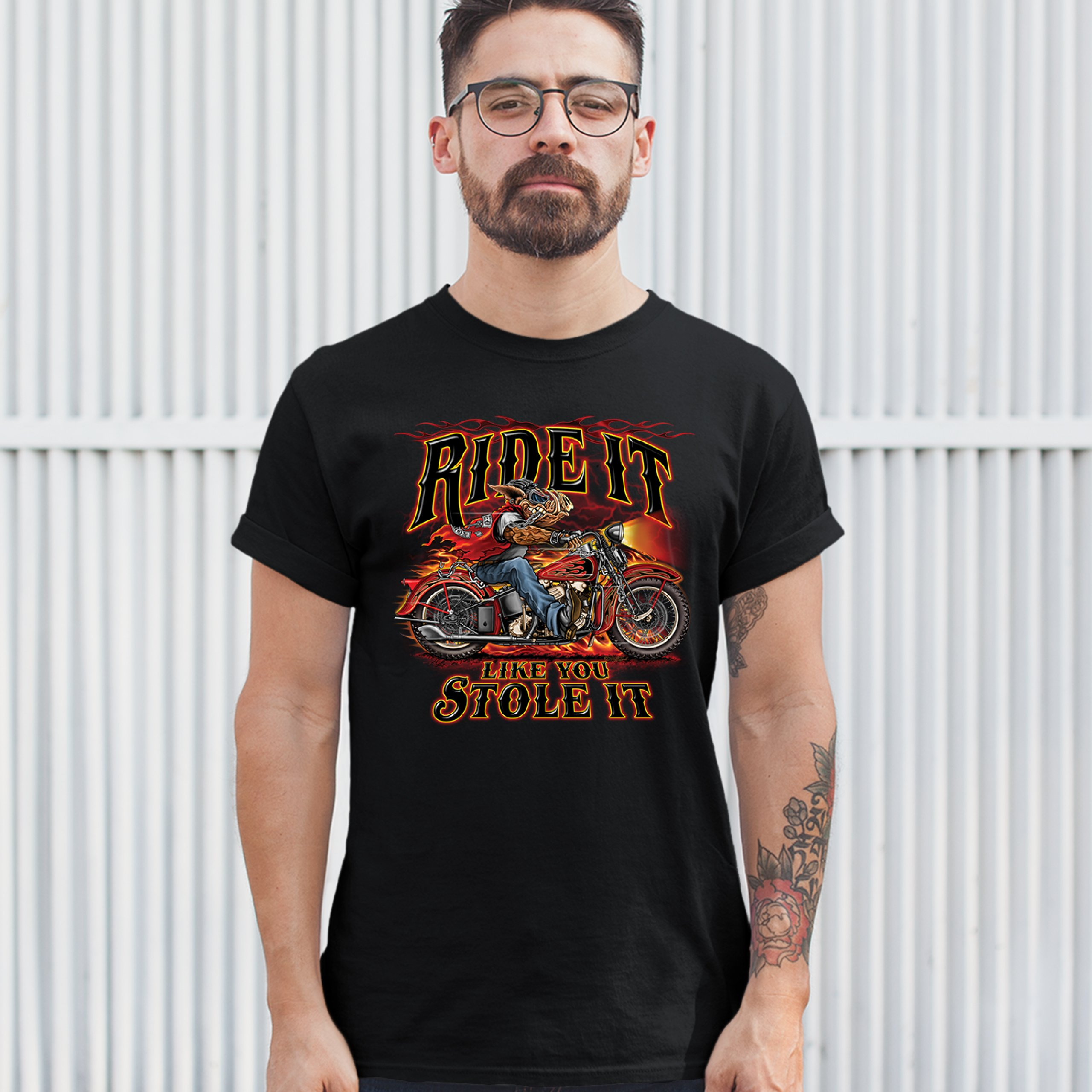 Ride It Like You Stole It T-shirt Biker Born to Be Wild Motorcycle Men's Tee