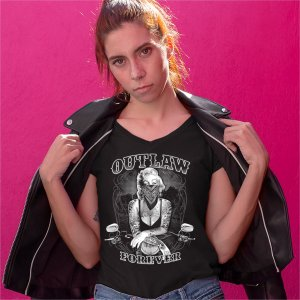Marilyn Monroe Outlaw Forever Long Sleeve T-shirt Biker Live to Ride Motorcycle