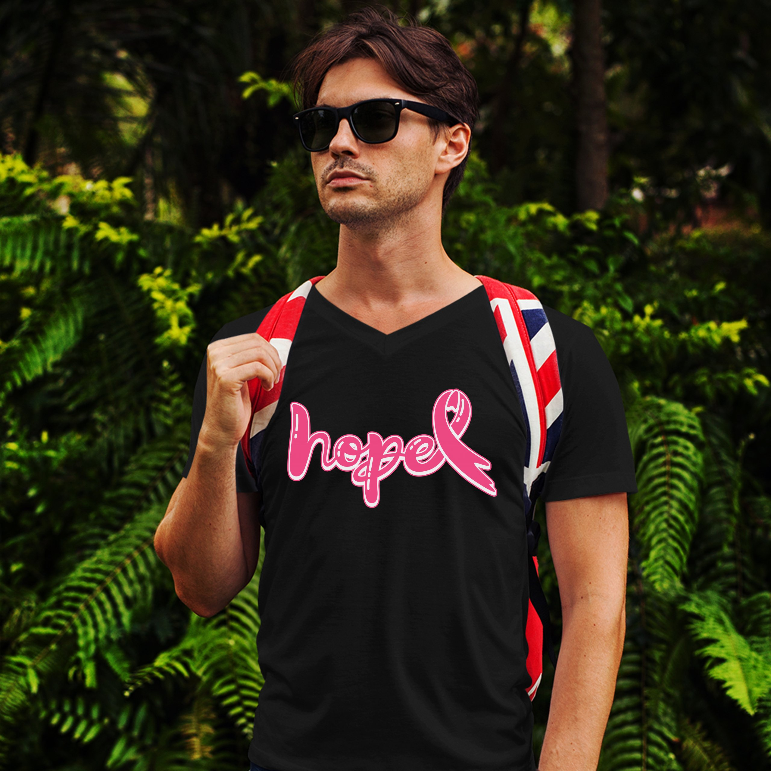 Hope Pink Ribbon V-Neck T-shirt Breast Cancer Awareness Month Tee